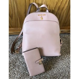 Michael Kors Blush Pink Adele Backpack and Wallet